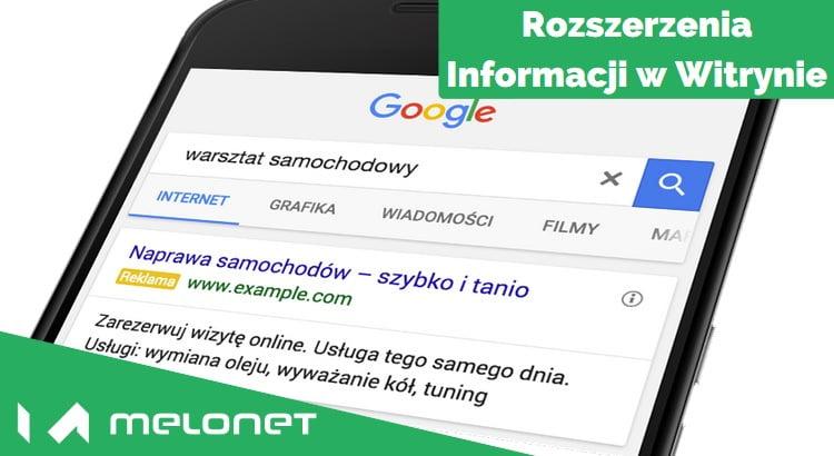 Rozszerzenia informacji w witrynie AdWords Polska