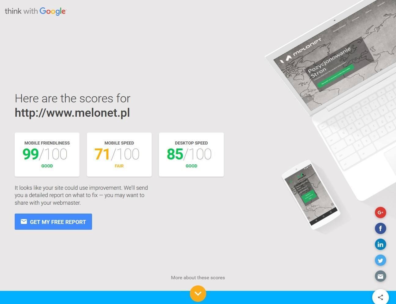 Główne okno narzędzia online od Google