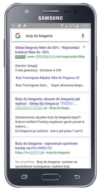 Wygląd wyników wyszukiwania na mobile