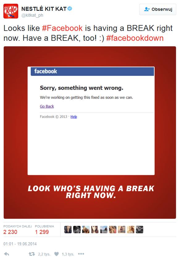 Awria facebook wykorzystana przez KitKat