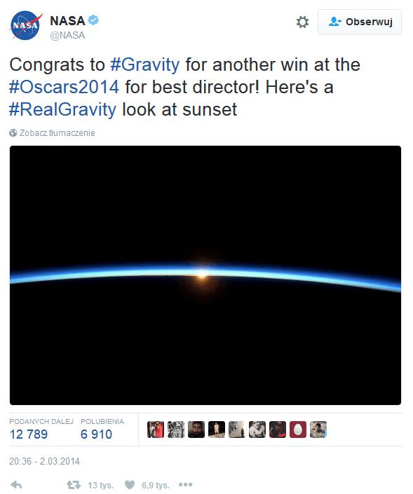 NASA i gala rozdania Oskarów