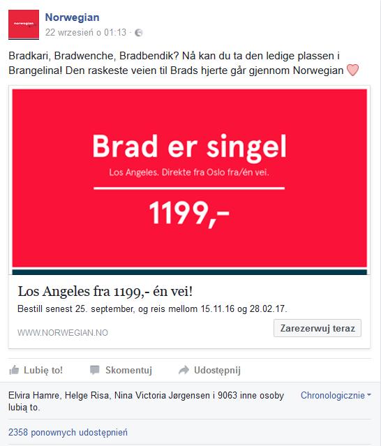 Norweskie linie lotnicze - Brad Pitt - Real time marketing