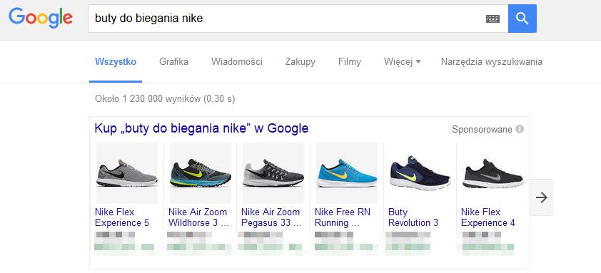 Widok Google zakupy w wynikach wyszukiwania