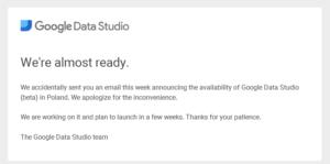 Falstart usługi Data Studio
